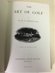Title page of %22Art of Golf%22
